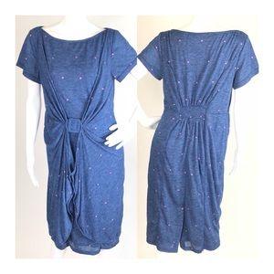 eShakti Polka Dot Draped BeltSheath Dress